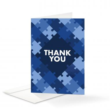 Blue Puzzle Thank You Card 25 Pack
