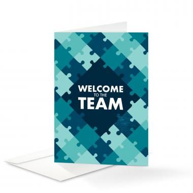 Blue Puzzle Welcome Card 25 Pack