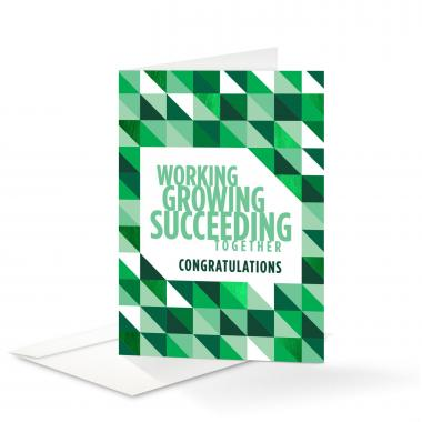 Working Growing Succeeding Congratulations Card 25 Pack