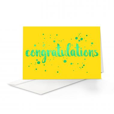 Green Shimmer Congratulations Card 25 Pack