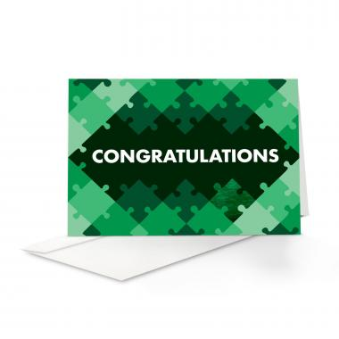 Green Puzzle Congratulations Card 25 Pack