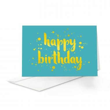 Yellow Shimmer Birthday Card 25 Pack