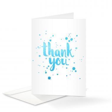 Blue Shimmer Thank You Card 25 Pack