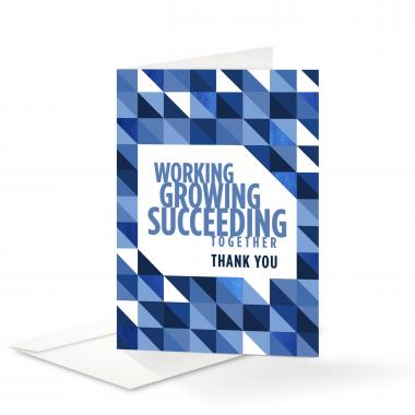 Working Growing Succeeding Thank You Card 25 Pack