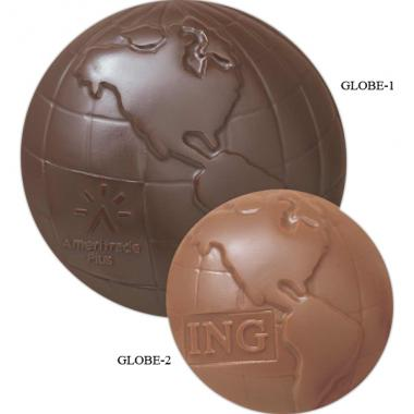 Molded chocolate globe with flat back, 5 oz. in gift box
