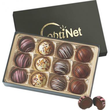 12 truffles in a box -  Flavor filled truffles in gift box with matching stretch bow
