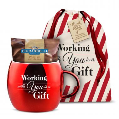 Working With You Sparkling Ornament Mug & Hot Cocoa Gift Set