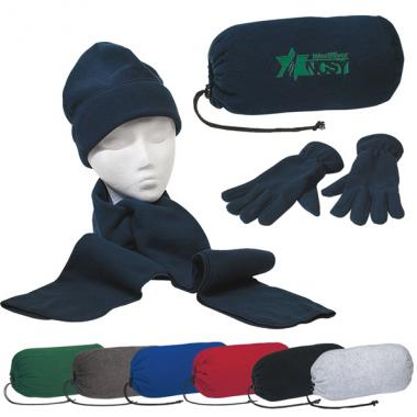 HitWear<sup>&reg;</sup> - Brushed polyester fleece scarf, gloves and cap set in a drawstring bag