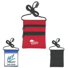 Tradeshow & Event Supplies - Neck wallet and badge holder with black trim and cord, 420 denier nylon