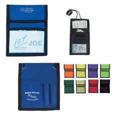 Tradeshow & Event Supplies - Neck wallet badge holder with clear plastic badge window, 420 denier nylon