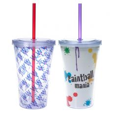 "Drinking Glasses - 16 oz. Double wall acrylic tumbler with 9"" matching straw"