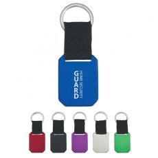 Key Holders General - Metal key tag with strap and split ring