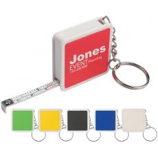 "Key Holders General - Square tape measure key tag, 39"" metal tap with metric / inch scale"
