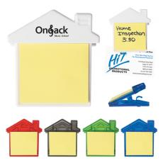 Office Supplies - House clip with self-adhering notes and magnet on back side