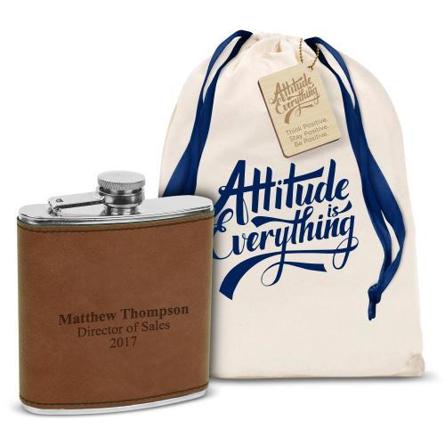 Vegan Leather 6oz. Flask Gift Set