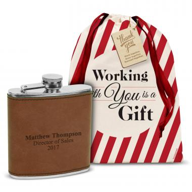 Vegan Leather 6oz. Flask Holiday Gift Set