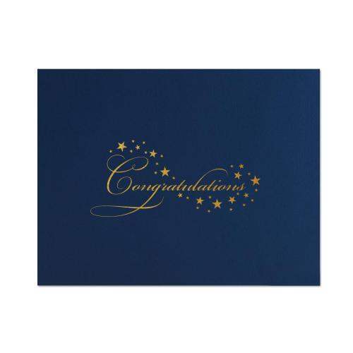 Congratulations Stars Linen Certificate Folders