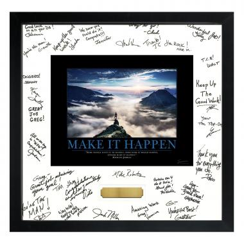 Make it Happen Mountain Framed Signature Motivational Poster