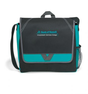 Elation - Turquoise -  Polyester messenger bag with shoulder strap and top grab handle