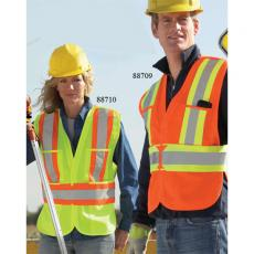 Vests General - North End<sup>®</sup> - Big(2XL-5XL) -  5-Point X pattern tear away safety vest with top and lower front pockets