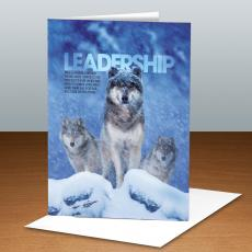 Modern Motivational Cards - Leadership Wolves Infinity Edge 25-Pack Greeting Cards