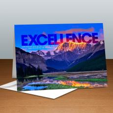 Modern Motivational Cards - Excellence Mountain Infinity Edge Greeting Cards