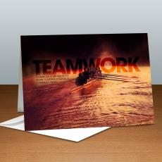 Modern Motivational Cards - Teamwork Rowers Infinity Edge 25-Pack Greeting Cards