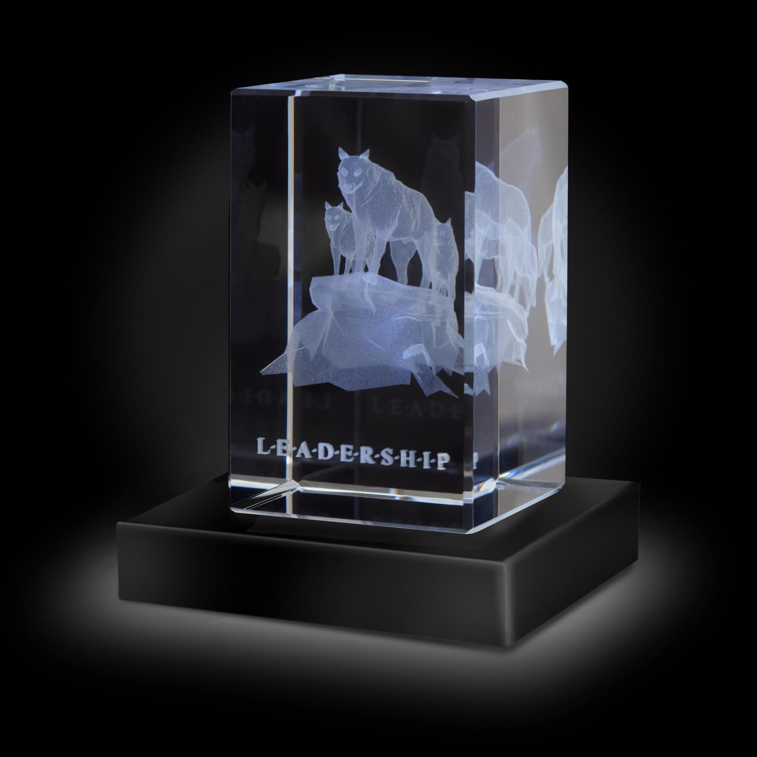 Leadership Wolves 3D Crystal Award