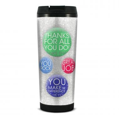 Many Thanks Glitter Travel Tumbler