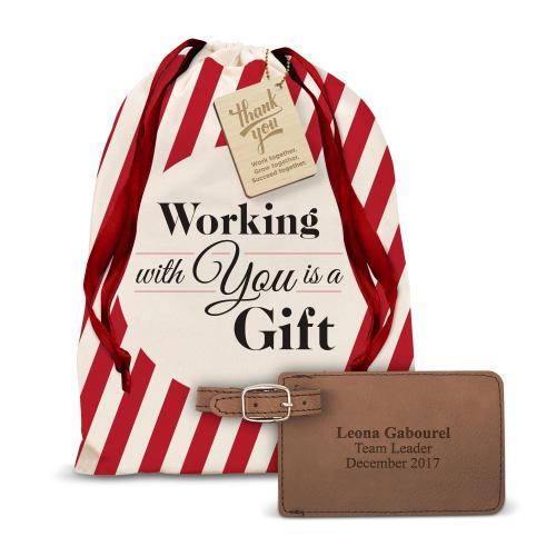 Vegan Leather Luggage Tag Holiday Gift Set