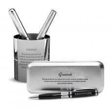 Pen Cups - Gratitude Cherry Blossoms Chrome Pen Gift Set