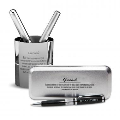 Gratitude Cherry Blossoms Chrome Pen Gift Set