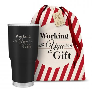 The Big Holiday Joe - Working With You is a Gift 30oz. Stainless Steel Tumbler