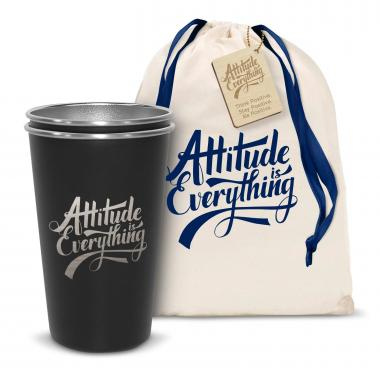 Pair of Attitude is Everything 16oz Stainless Steel Pint Cup