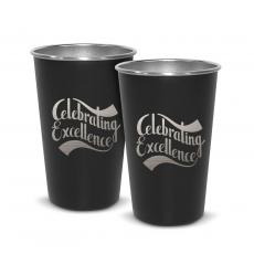 Barware - Pair of Celebrating Excellence 16oz Stainless Steel Pint Cup