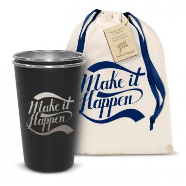 Pair of Make it Happen 16oz Stainless Steel Pint Cup