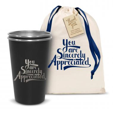 Pair of Sincerely Appreciated 16oz Stainless Steel Pint Cup