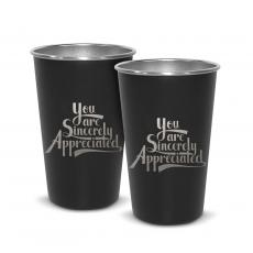Barware - Pair of Sincerely Appreciated 16oz Stainless Steel Pint Cup