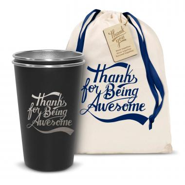 Pair of Thanks for Being Awesome 16oz Stainless Steel Pint Cup