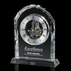 Engraved Clock Awards - Crystal Gear Desk Clock