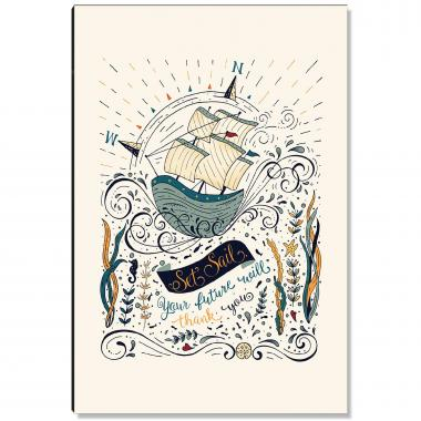 Ship Set Sail Inspirational Art