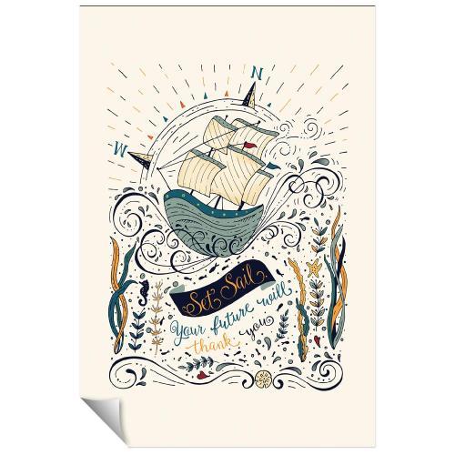 Ship Set Sail Inspirational Art