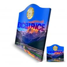 Excellence Mountain Acrylic Desktop Crest Clock