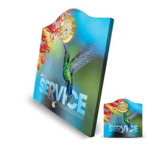 Service Hummingbird Acrylic Desktop Crest Clock