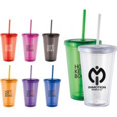 Travel Mugs/Cups - Cyclone - 16 oz Tumbler with straw