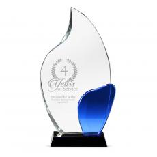 Colored Glass and Crystal Awards - Cobalt Flame Crystal Award