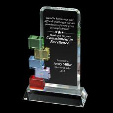 Colored Glass and Crystal Awards - Cornerstone Excellence Crystal Award