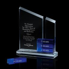 Colored Glass and Crystal Awards - Cobalt Perpetual Recognition Crystal Award
