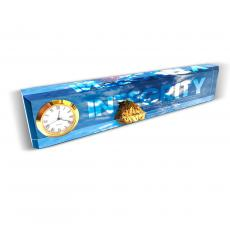 Engraved Clock Awards - Integrity Rock Desk Clock Nameplate