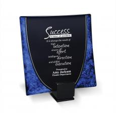 Colored Glass and Crystal Awards - Blue Art Glass Award Plate